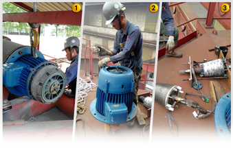 Image 1 to 3: Dismantle & troubleshooting of hoist motor