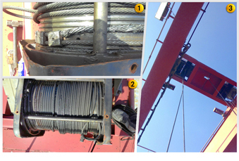 Image 1 to 3: Replace of hoist wire rope