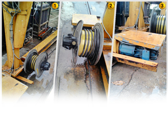 Image 1 to 3: Troubleshooting of crane power supply cable drum